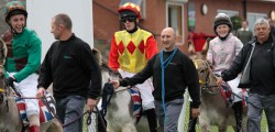 Beverley Racecourse added a touch of fun to their meeting holding a Jubilee Donkey Derby. With a large crowd at the course professional jockeys, to the amusement of those watching held a short race past the grandstand.