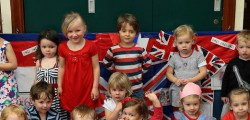 Toddlers at Toll Gavel Church Preschool Playgroup topped an off a week of Queen's Diamond Jubilee Celebrations with a tea party. Children have spent an entire week using red white and blue toys, making bunting