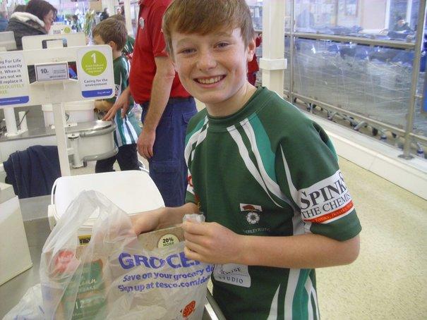 Shoppers Support Beverley RUFC Tesco Bag Pack