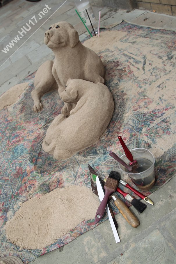 Sandtastic : Dogs Sculpted From Sand Get A Lot Of Attention From Shoppers