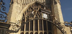 A traffic cone has been thrown at a window at the front of St Mary's Church in North Bar Within, Beverley.