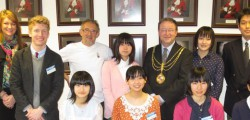 Mayor of Beverley, Cllr Martin Cox hosted a reception at Beverley Town Council to exchange gifts with a party of young Japanese Students from Takaoka and their escorts.