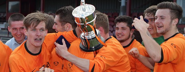 Danny Earl Strike Wins The Cup For Beverley Town