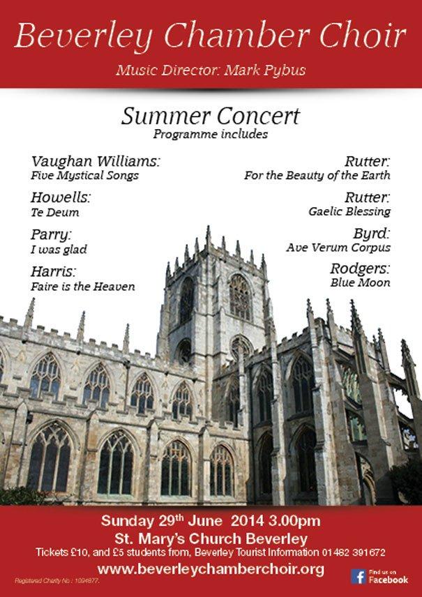 Beverley Chamber Choir Sunday Summer Concert