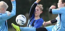 Football action from the Hull Boys Sunday League featuring Beverley Whitestar Cobras and Kingston Hull FC.