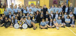 Pupils at Keldmarsh Primary School got an opportunity to get really close look at the trophy that will be presented to the winner of the inaugural Tour de Yorkshire.