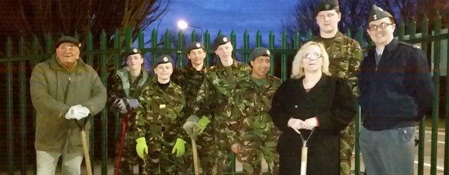Air Cadets Help Parish Council To Plant Trees at Molescroft Pavillion