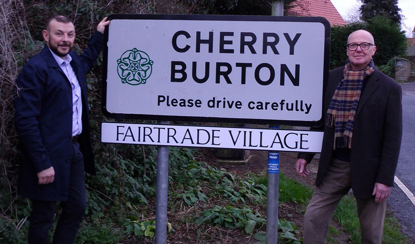 Campaigners in Cherry Burton Celebrate As Fairtrade Village Signs Go Up