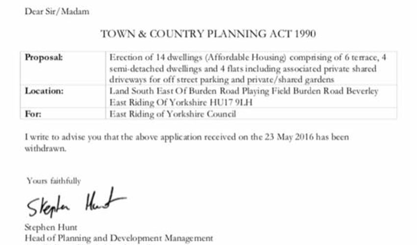 Application For New Homes IN Bevelrey Is Withdrawn By Council