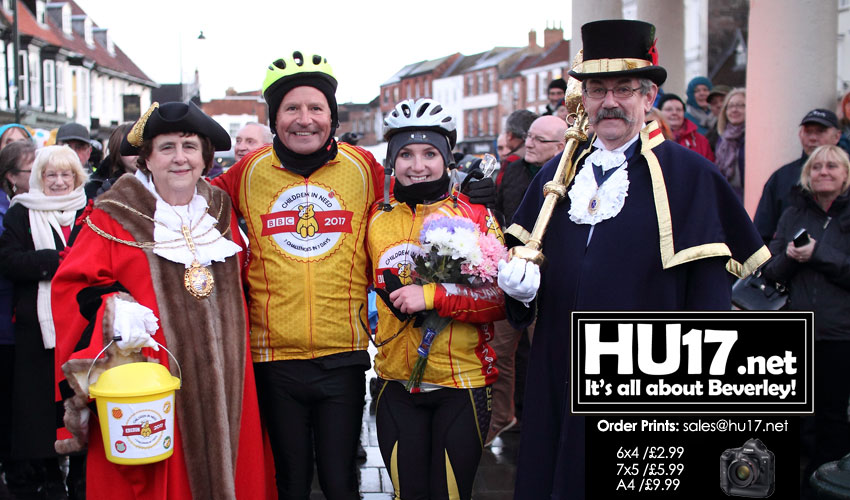 Mayor Greets Peter Levy & Abbie Dewhurst After Grueling Charity Bike Ride