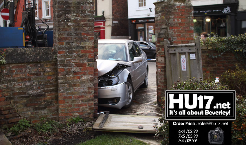 St Mary's Church Wall Badly Damaged After Car Crashes Through Gate
