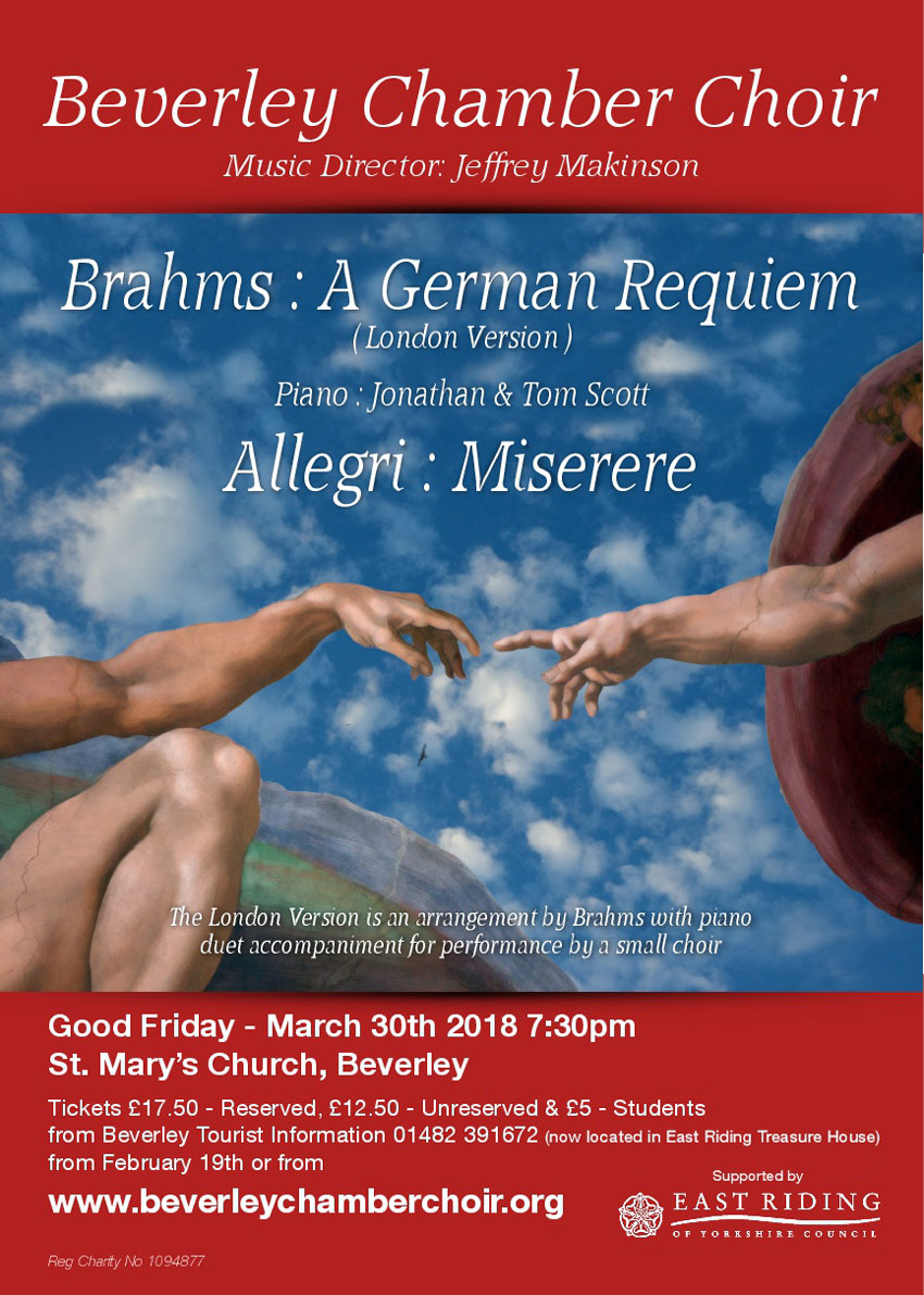 Tickets on Sale for Good Friday Beverley Chamber Choir Concert