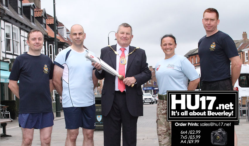 Deputy Mayor Welcomes RAF100 Baton As It Passes Through Beverley