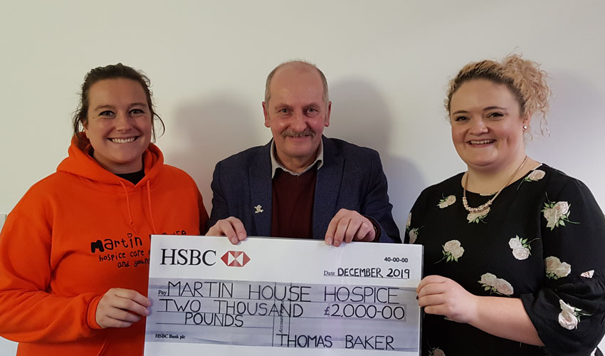 Thomas The Baker Hands Over £2,000 To Children's Hospice